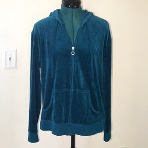 Teal New York & Company Velour ZIP-Front Jacket